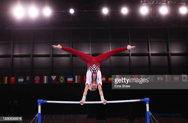 Elisabeth Seitz of Team Germany competes on uneven bars during Women's Qualification on day two of the Tokyo 2020 Olympic Games at Ariake Gymnastics...