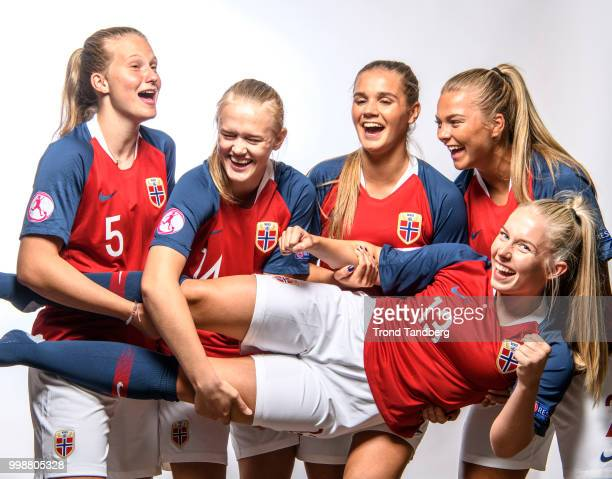 Elisabeth Terland Runa Lillegaard Jenny Vilde Gullhaug Birkeli Andrea Norheim of Norway during J19 Photocall at Thon Arena on July 12 2018 in...