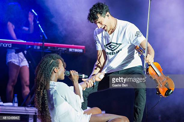 Elisabeth Troy and Luke Patterson of Clean Bandit perform live at FIB Benicassim Festival on July 16 2015 in BENICASSIM SPAIN