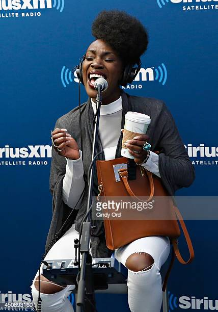 Elisabeth Troy performs with Clean Bandit at the SiriusXM Studios on June 19 2014 in New York City