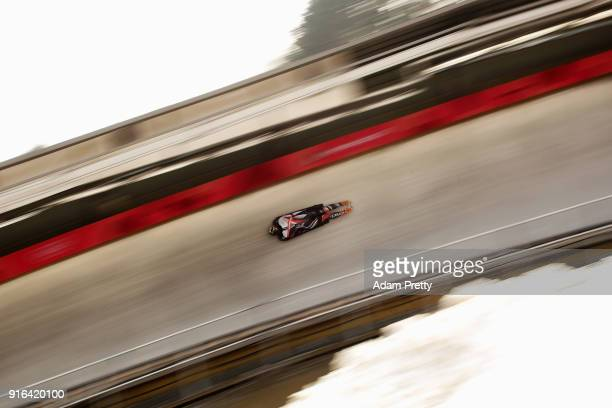 Elisabeth Vathje of Canada slides during the Women's Skeleton training on day one of the PyeongChang 2018 Winter Olympic Games at Olympic Sliding...