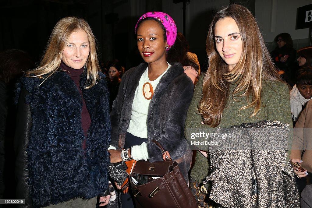 Elisabeth von Guttman, Shala Monroque and Alexia Niedzielski attend the Rochas Fall/Winter 2013 Ready-to-Wear show as part of Paris Fashion Week on February 27, 2013 in Paris, France.