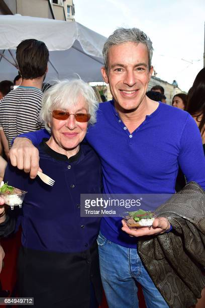 Elisabeth von Molo and actor Gedeon Burkhard attend the Nithan Thai Restaurant Opening Event on May 18, 2017 in Berlin, Germany.