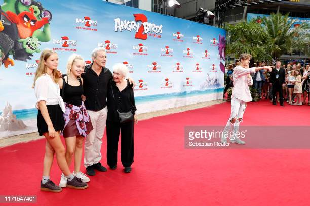 """Elisabeth von Molo , Gedeon Burkhard and his family and Lukas Rieger attend the premiere of the movie """"Angry Birds 2 - Der Film"""" at CineStar on..."""