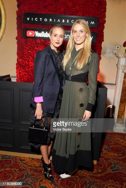 Elisabeth von Thurn und Taxis and Selby Drummond attends the Victoria Beckham x YouTube Fashion Beauty After Party at London Fashion Week hosted by...