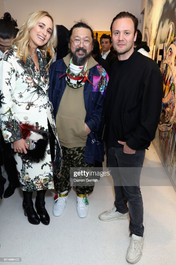 Elisabeth von Thurn und Taxis (L), Takashi Murakami and Nicholas Kirkwood attend Murakami & Abloh: Future History at Gagosian Gallery Davies Street on February 20, 2018 in London, England.