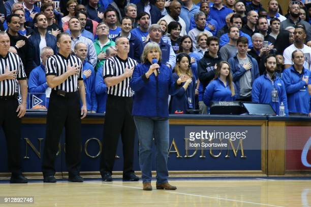 Elisabeth Von Trapp daughter and granddaughter of the Von Trapps of Sound of Music fame sings the national anthem The Duke University Blue Devils...