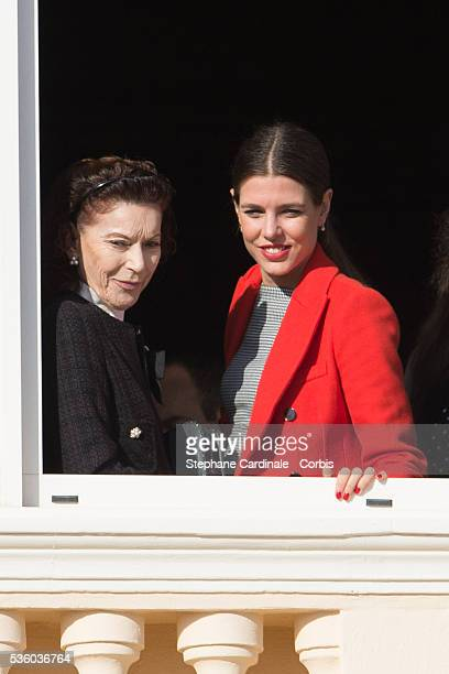 Elisabeth-Anne de Massy and Charlotte Casiraghi attend the Official Presentation Of The Monaco Twins : Princess Gabriella of Monaco And Prince...