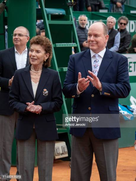 ElisabethAnne de Massy and Prince Albert II of Monaco attend the Rolex MonteCarlo Masters at MonteCarlo Country Club on April 21 2019 in MonteCarlo...