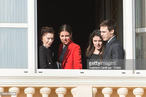 Elisabeth-Anne de Massy, Charlotte Casiraghi, Melanie-Antoinette de Massy and Louis Ducruet attend the Official Presentation Of The Monaco Twins :...