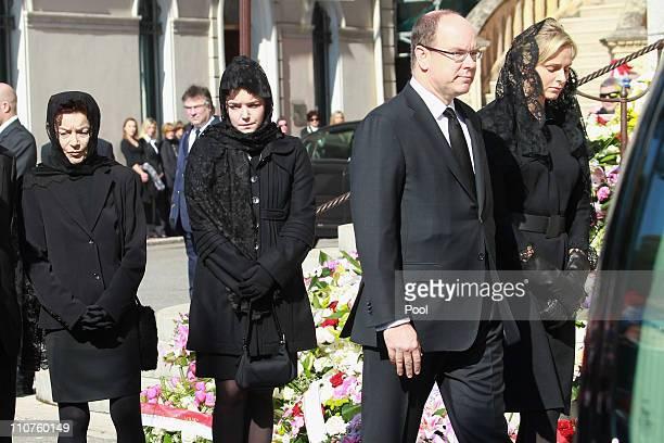 Elisabeth-Anne de Massy , Melanie-Antoinette de Massy , Prince Albert II of Monaco and Charlene Wittstock attend the funeral of Princess...
