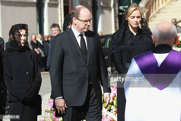 ElisabethAnne de Massy Prince Albert II of Monaco and Charlene Wittstock attend the funeral of Princess MelanieAntoinette at Cathedrale...
