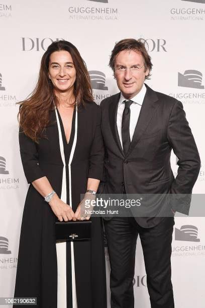 Elisabetta Beccari and Pietro Beccari attend the Guggenheim International Gala Dinner made possible by Dior at Solomon R Guggenheim Museum on...