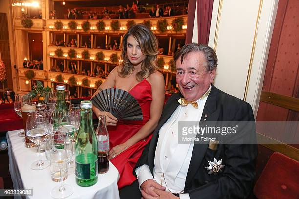 Elisabetta Canalis and Richard Lugner attend the traditional Opera Ball Vienna at State Opera Vienna on February 12 2015 in Vienna Austria