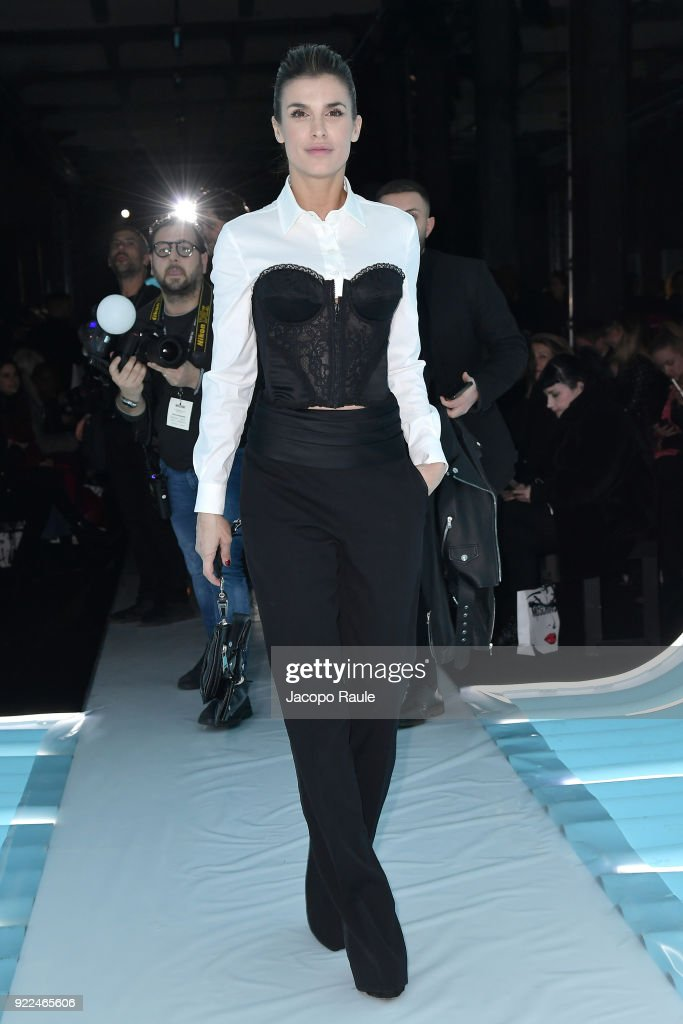 Elisabetta Canalis attends the Moschino show during Milan Fashion Week Fall/Winter 2018/19 on February 21, 2018 in Milan, Italy.