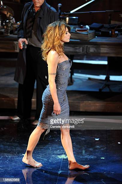 Elisabetta Canalis attends the opening night of the 62th Sanremo Song Festival at the Ariston Theatre on February 14, 2012 in San Remo, Italy.