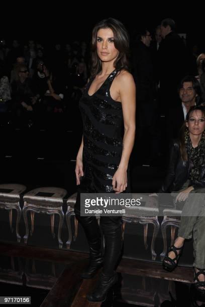 Elisabetta Canalis attends the Roberto Cavalli Milan Fashion Week Autumn/Winter 2010 show on February 28 2010 in Milan Italy