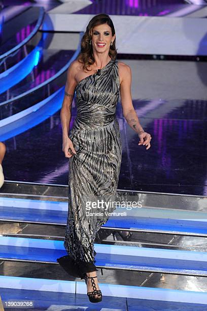 Elisabetta Canalis attends the second day of the 62th Sanremo Song Festival at the Ariston Theatre on February 15 2012 in San Remo Italy