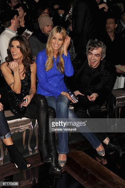 Elisabetta Canalis Elena Santarelli and Morgan attend Roberto Cavalli Milan Fashion Week Autumn/Winter 2010 show on February 28 2010 in Milan Italy