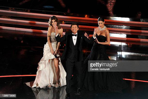 Elisabetta Canalis Gianni Morandi and Belen Rodriguez attend the opening night of the 62th Sanremo Song Festival at the Ariston Theatre on February...
