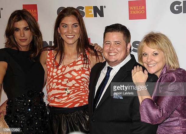Elisabetta Canalis, Hope Solo, Chaz Bono and Nancy Grace attend the 7th Annual GLSEN Respect Awards at the Beverly Hills Hotel on October 21, 2011 in...