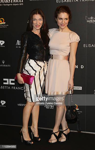 Elisabetta Franchi and Isabella Ragonese attend the Fundaction Privada Samuel Eto'o Charity Event Red Carpet on March 17 2011 in Milan Italy