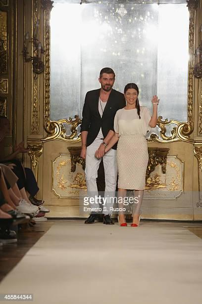 Elisabetta Franchi walks the runway during the Elisabetta Franchi Show as part of Milan Fashion Week Womenswear Spring/Summer 2015 on September 20...