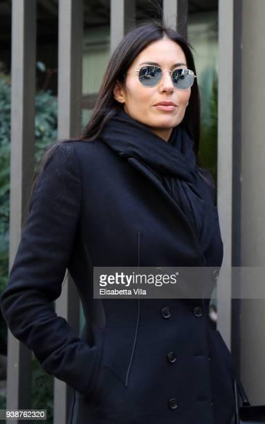 Elisabetta Gregoraci arrives at the Fabrizio Frizzi funeral parlour at RAI Viale Mazzini on March 27, 2018 in Rome, Italy.