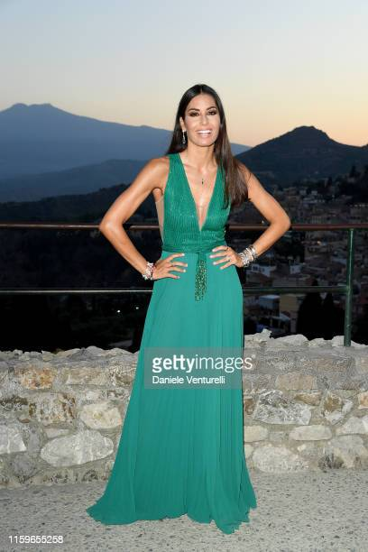 Elisabetta Gregoraci attends the 65th Taormina Film Fest Cocktail at Teatro Antico on July 02 2019 in Taormina Italy