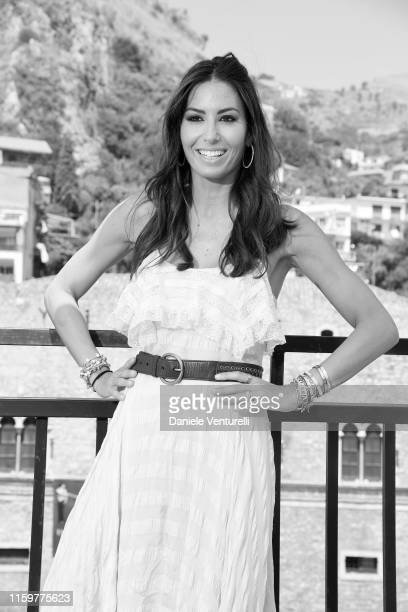 THIS IMAGE WAS CONVERTED TO BLACK AND WHITE Elisabetta Gregoraci attends the 65th Taormina Film Fest photocall at on July 03 2019 in Taormina Italy