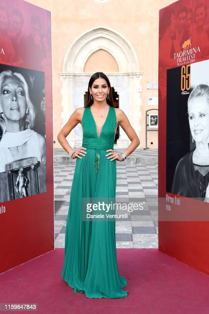 Elisabetta Gregoraci attends the 65th Taormina Film Fest Red Carpet on July 02 2019 in Taormina Italy