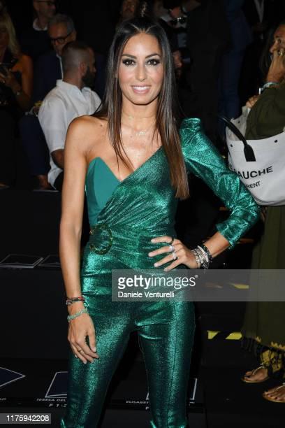 Elisabetta Gregoraci attends the Elisabetta Franchi fashion show during the Milan Fashion Week Spring/Summer 2020 on September 20, 2019 in Milan,...