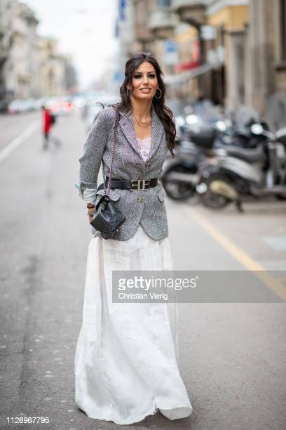 Elisabetta Gregoraci attends the Ermanno Scervino show at Milan Fashion Week Autumn/Winter 2019/20 on February 23, 2019 in Milan, Italy.