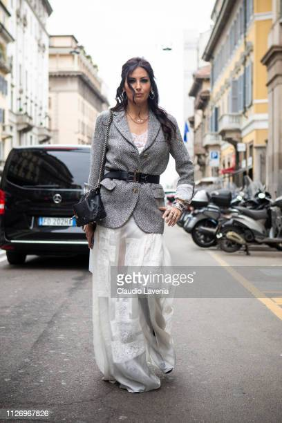 Elisabetta Gregoraci attends the Ermanno Scervino show at Milan Fashion Week Autumn/Winter 2019/20 on February 23 2019 in Milan Italy