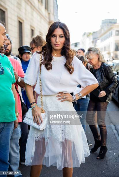 Elisabetta Gregoraci attends the Ermanno Scervino show at Milan Fashion Week Spring Summer 2020 on September 21, 2019 in Milan, Italy.