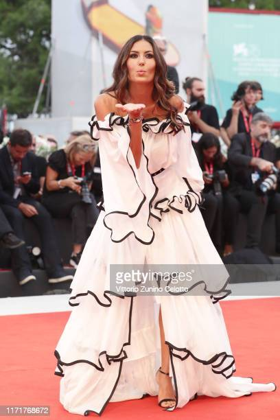 Elisabetta Gregoraci walks the red carpet ahead of the Martin Eden screening during the 76th Venice Film Festival at Sala Grande on September 02 2019...