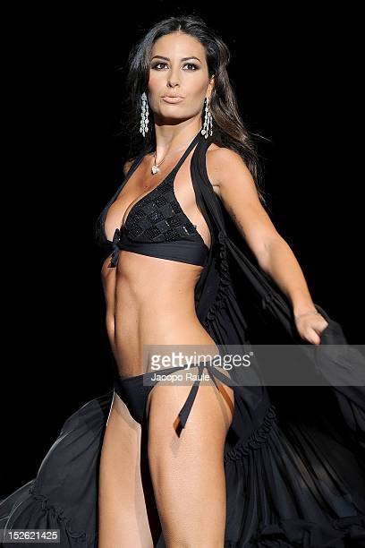 Elisabetta Gregoraci walks the runway at the Gianantonio A Paladini Spring/Summer 2013 fashion show as part of Milan Womenswear Fashion Week on...