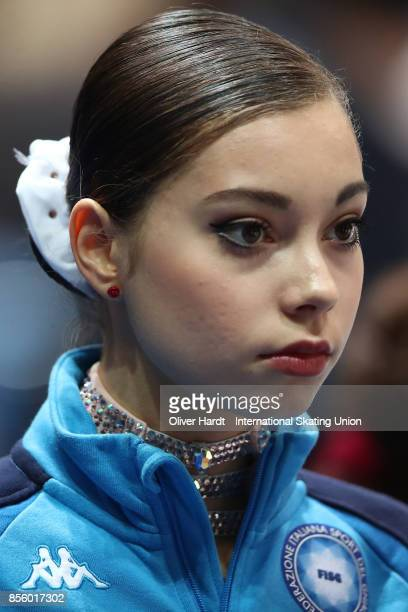 Elisabetta Leccardi of Italy looks on prior to the Junior Ladies Free Skating Program during day four of the ISU Junior Grand Prix of Figure Skating...