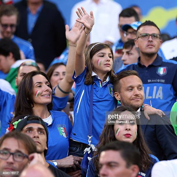 Elisabetta Muscarello wife of Italy manager Antonio Conte looks on next to her daughter Vittoria Conte during the UEFA Euro 2016 Quarter Final match...