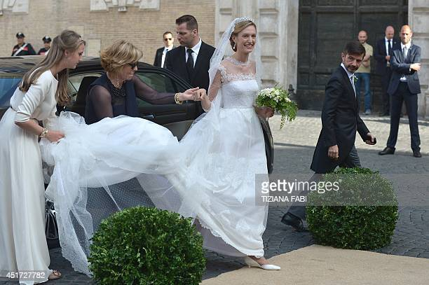 Elisabetta Rosboch von Wolkenstein arrives at the basilica Santa Maria in Trastevere for her wedding with Prince Amedeo of Belgium on July 5 2014 in...