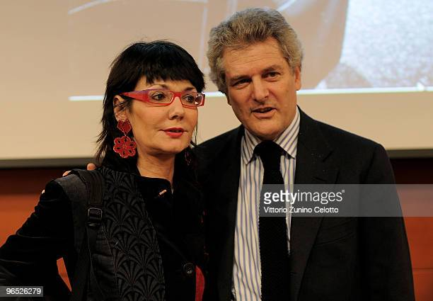 Elisabetta Sgarbi and Alain Elkann attend 'Nonna Carla' book launch on February 9 2010 in Milan Italy