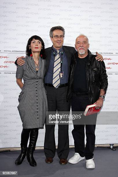 Elisabetta Sgarbi, Mario Sesti and author Paulo Coehlo attends the Paulo Coehlo Photocall during day 6 of the 4th Rome International Film Festival...
