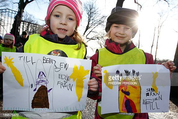 Elise and Sara from a nearby kindergarten came to Haga Palace in Stockholm on February 23 2012 to congratulate the Swedish Crown Princess couple 2012...