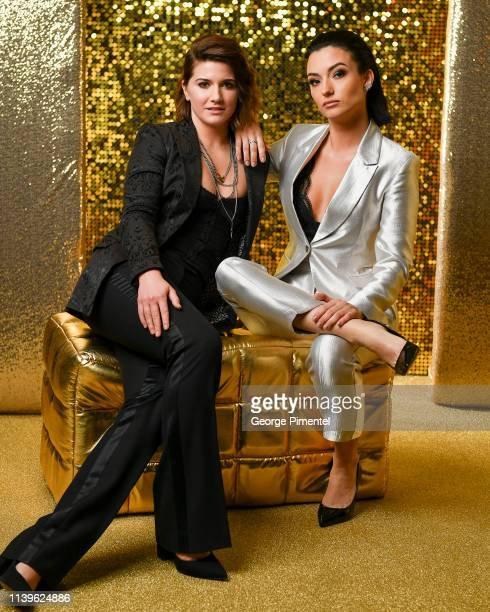 Elise Bauman and Natasha Negovanlis pose inside the 2019 Canadian Screen Awards Portrait Studio held at Sony Centre for the Performing Arts on March...