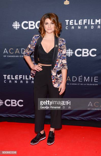 Elise Bauman arrives at the 2018 Canadian Screen Awards at the Sony Centre for the Performing Arts on March 11 2018 in Toronto Canada