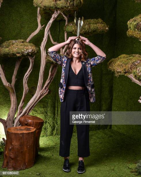 Elise Bauman poses in the 2018 Canadian Screen Awards Broadcast Gala Portrait Studio at Sony Centre for the Performing Arts on March 11 2018 in...