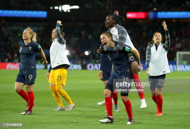 Elise Bussaglia and Viviane Asseyi of France celebrate following the 2019 FIFA Women's World Cup France group A match between France and Korea...