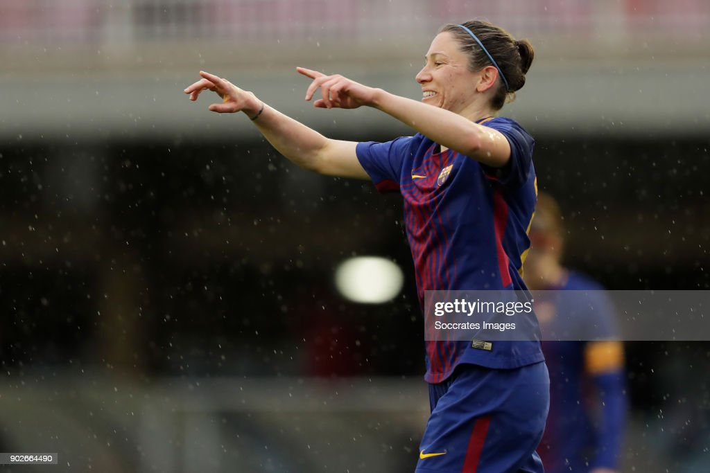 Elise Bussaglia of FC Barcelona Women celebrates 1-0 during the Iberdrola Women's First Division match between FC Barcelona v Levante at the Ciutat Esportiva Joan Gamper on January 7, 2018 in Barcelona Spain