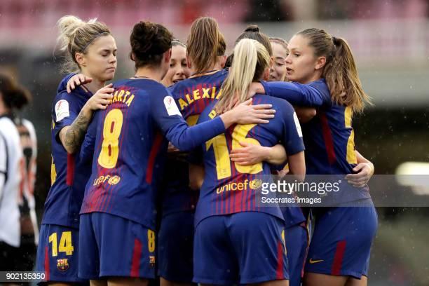 Elise Bussaglia of FC Barcelona Women celebrates 10 with Maria Pilar Leon of FC Barcelona Women Marta Torrejon Moya of FC Barcelona Women Toni Duggan...