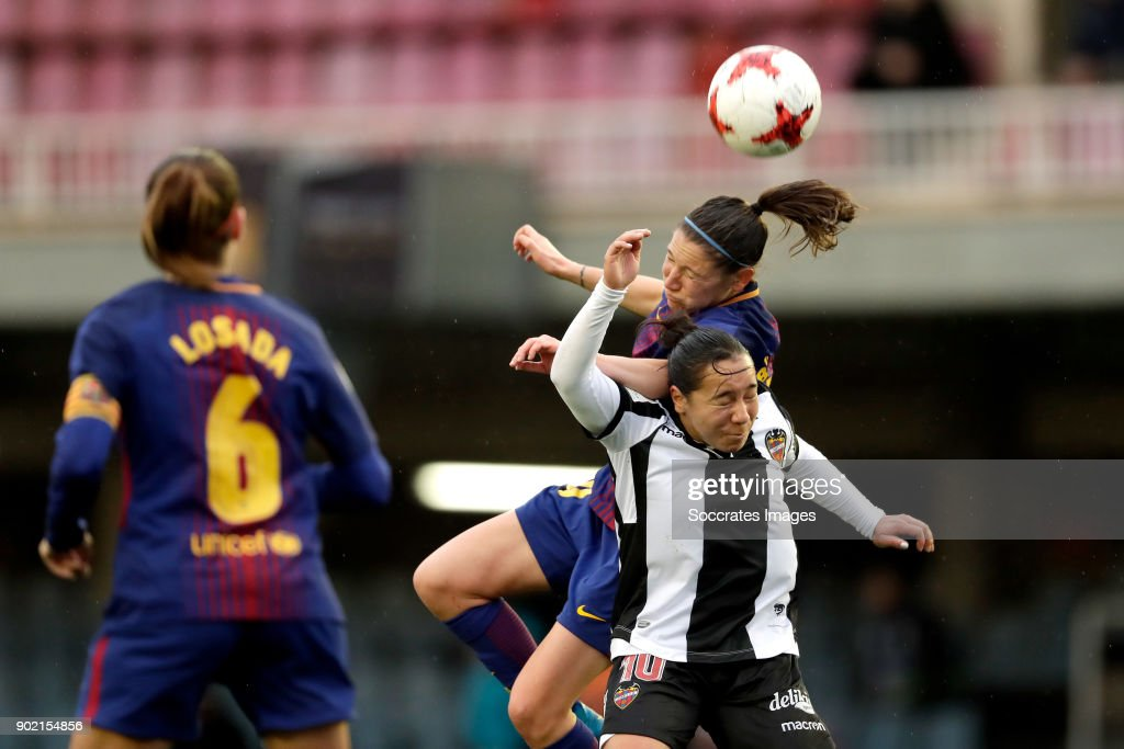 Elise Bussaglia of FC Barcelona Women, Charlyn Corral of Levante UD Women during the Iberdrola Women's First Division match between FC Barcelona v Levante at the Ciutat Esportiva Joan Gamper on January 7, 2018 in Barcelona Spain
